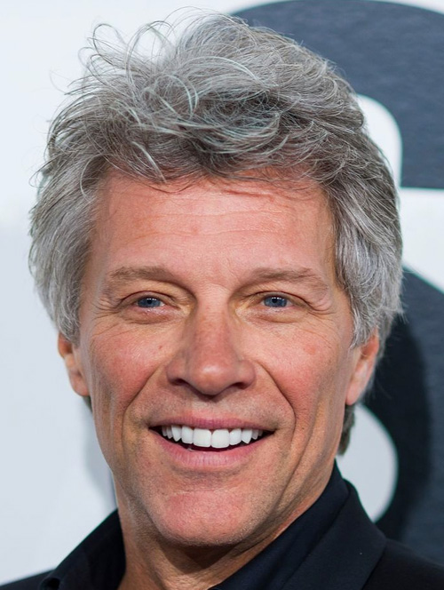 Estilo para homens fios grisalhos Jon Bon Jovi - 60 mais