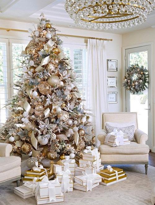 Decoração de Natal - árvore dourada - 60 mais