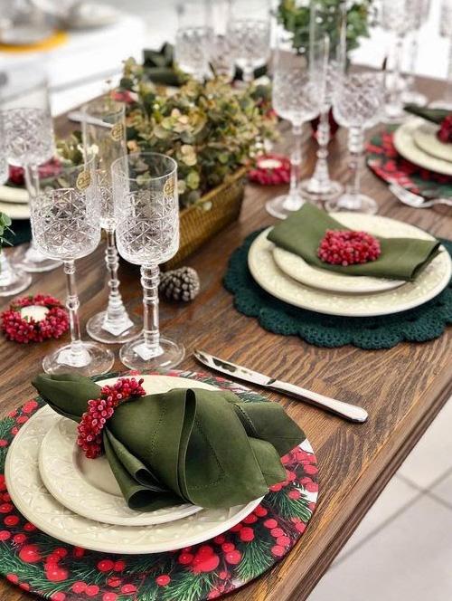 Decoração de Natal - mesa decorada - 60 mais