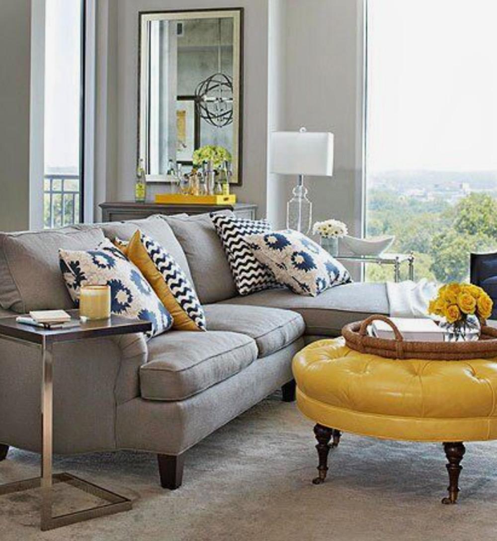 Tendências de decoração em 2021 amarelo e cinza - 60+